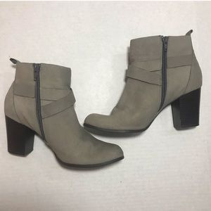 Cole Haan Grand.OS Grey Buckle Booties, Size 8